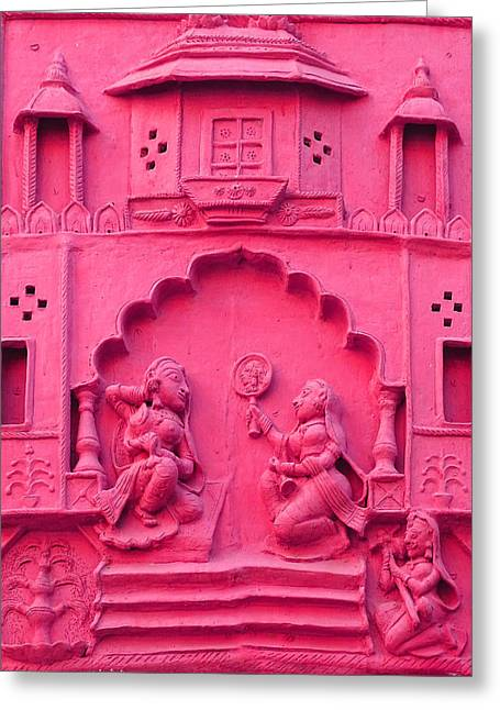 Royal Art Greeting Cards - Pink Fresco Palace Queen Maids 4 Udaipur Rajasthan India Greeting Card by Sue Jacobi