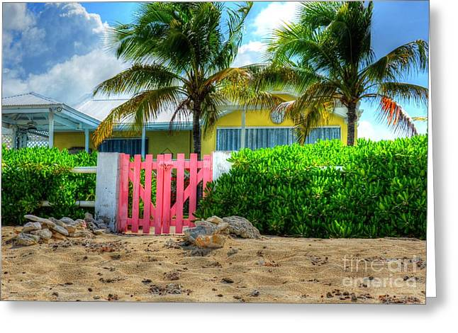 Grand Turk Island Greeting Cards - Pink Gate Greeting Card by Debbi Granruth