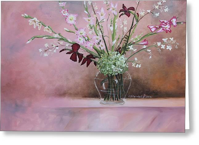 Flower Still Life Prints Greeting Cards - Pink Gladiolas Greeting Card by Cecilia  Brendel