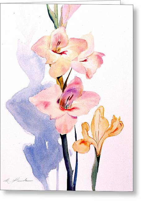 Gladiolas Paintings Greeting Cards - Pink Gladiolas Greeting Card by Mark Lunde