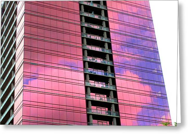 Pink Glass Buildings Can Be Pretty Greeting Card by Randall Weidner