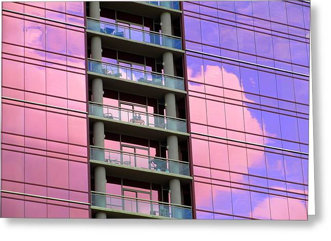 Charlotte Photographs Greeting Cards - Pink Glass Clouds Greeting Card by Randall Weidner