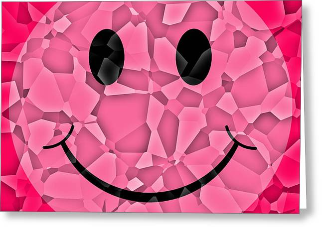 Smiley Greeting Cards - Pink Glass Shattered Smiley Face Greeting Card by David G Paul