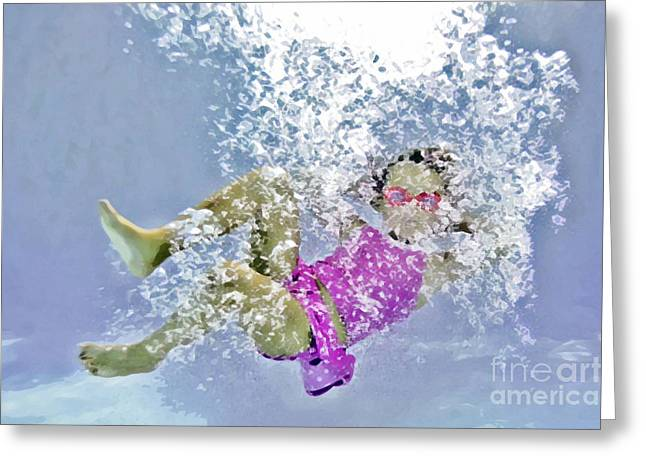 Floating Girl Greeting Cards - Pink Goggles Greeting Card by Lifestyle Photos By Tara