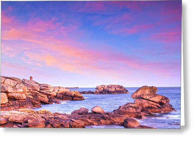 Brittany Greeting Cards - Pink Granite Coast Brittany France Greeting Card by Colin and Linda McKie