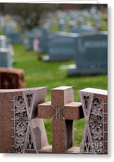 Death Greeting Cards - Pink Granite Tombstone Greeting Card by Amy Cicconi