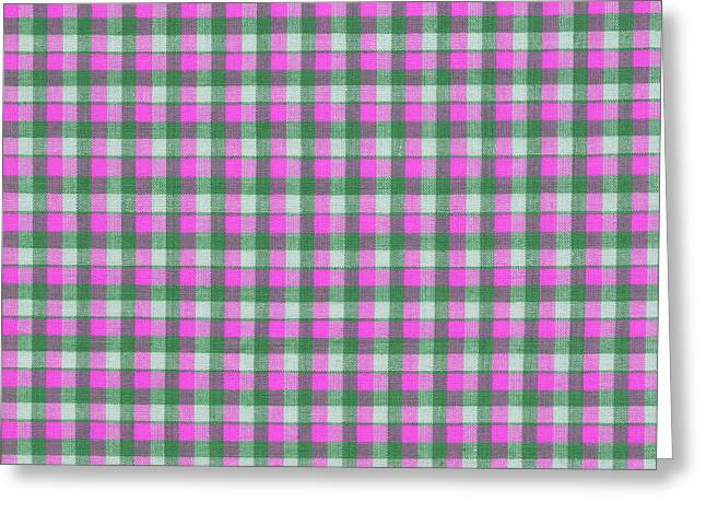 White Cloth Greeting Cards - Pink Green And White Plaid Pattern Cloth Background Greeting Card by Keith Webber Jr