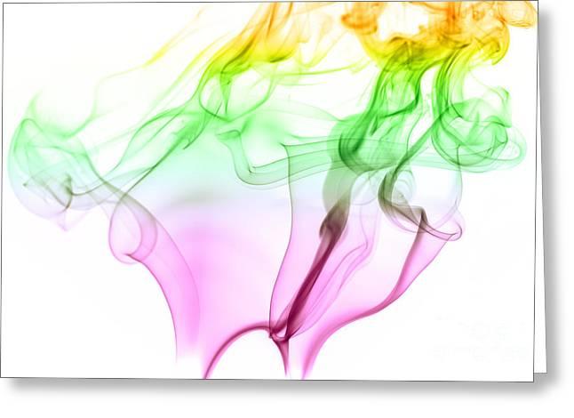 Incense Smoke Greeting Cards - Pink Green and Yellow Smoke Abstract Greeting Card by Vishwanath Bhat