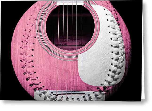 Take-out Digital Greeting Cards - Pink Guitar Baseball White Laces Square Greeting Card by Andee Design
