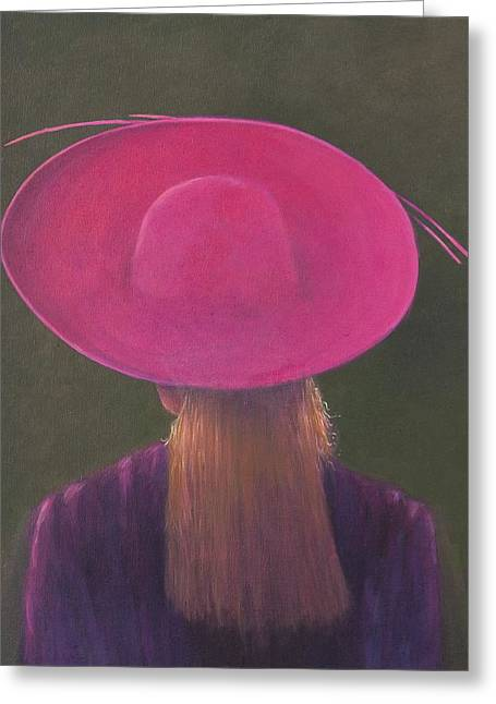 Wide Brim Hat Greeting Cards - Pink Hat, 2014 Oil On Canvas Greeting Card by Lincoln Seligman