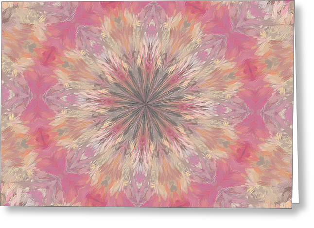 Healing Energy Greeting Cards - Pink Healing Mandala Greeting Card by Deborah Benoit