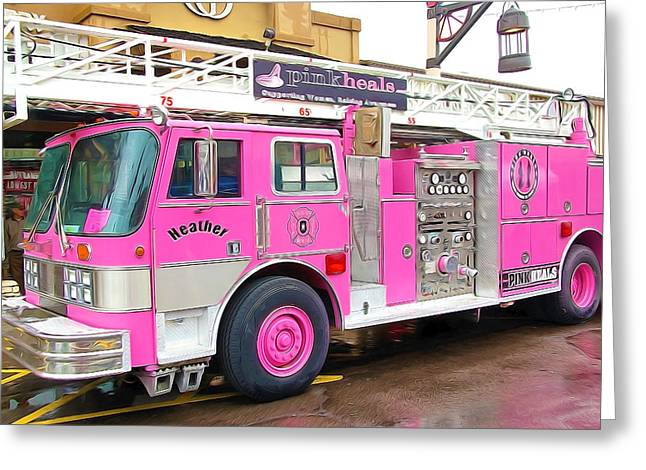 Brigade Greeting Cards - Pink Heals Fire Truck Greeting Card by Lanjee Chee
