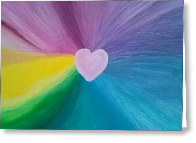 Chakra Rainbow Greeting Cards - Pink Heart 2 Greeting Card by Leonardo Vidal