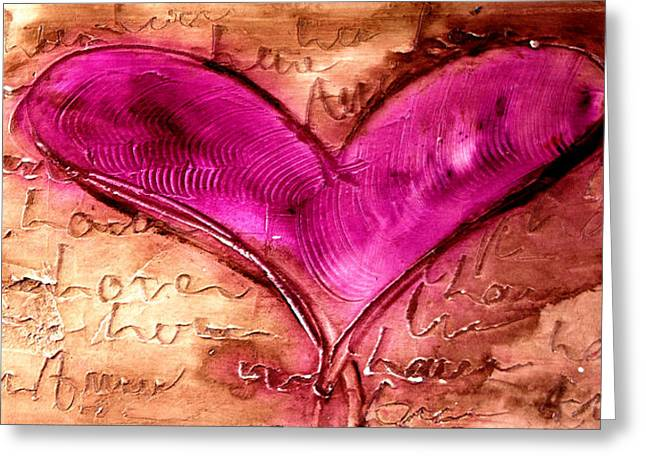 Family Love Greeting Cards - Pink heart Greeting Card by Ivan Guaderrama