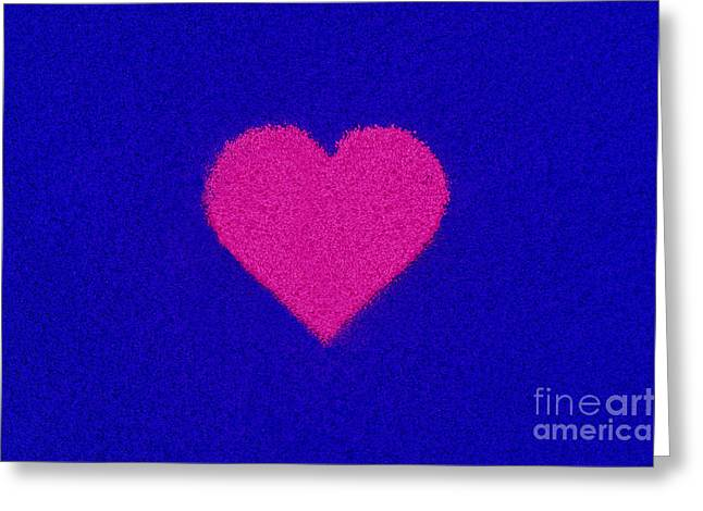 Coloured Greeting Cards - Pink Heart Greeting Card by Tim Gainey