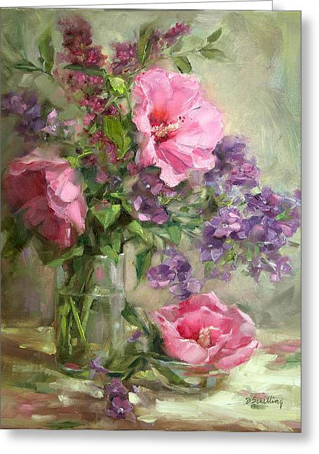 Vase Of Flowers Greeting Cards - Pink Hibiscus Greeting Card by Barbara Schilling