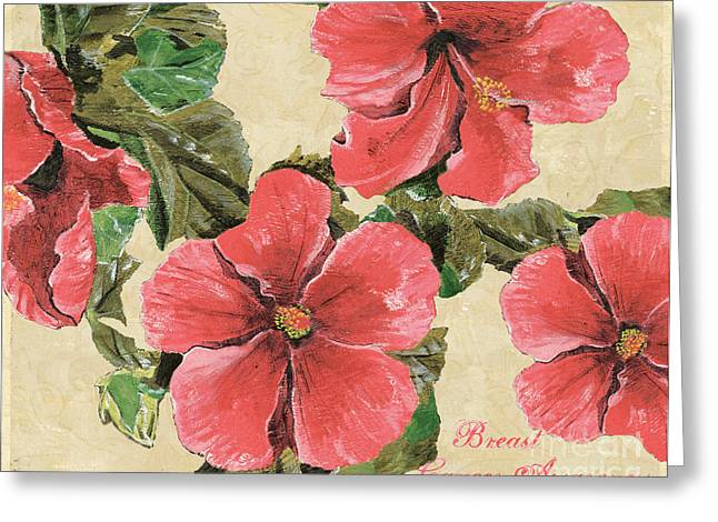 Pink Hibiscus Greeting Card by Debbie DeWitt