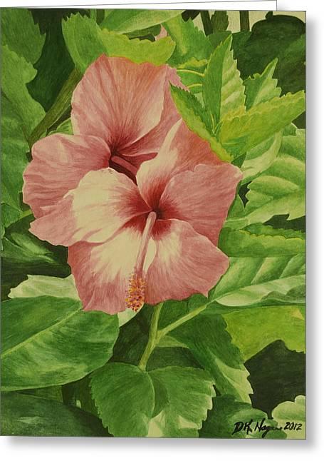 Pink Hibiscus Greeting Card by DK Nagano