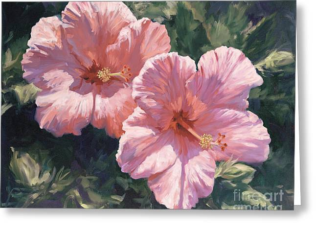 Pink Hibiscus Greeting Card by Laurie Hein