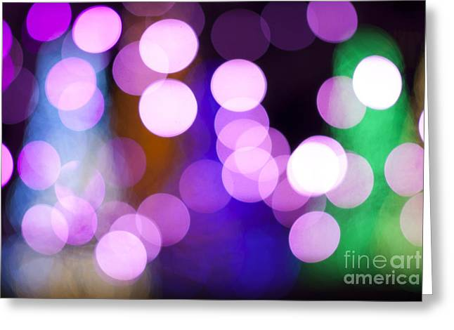 Bokeh Greeting Cards - Pink Holiday Lights Greeting Card by Juli Scalzi