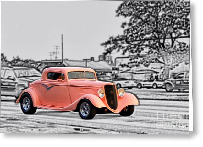 Pink Hot Rod Cruising Woodward Avenue Dream Cruise Selective Coloring Black And White Greeting Card by Thomas Woolworth