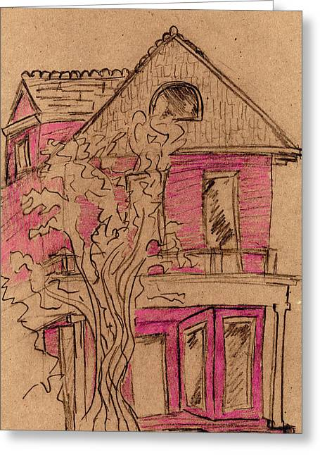 Photoshop Pastels Greeting Cards - Pink House Greeting Card by Amelia Mickelsen