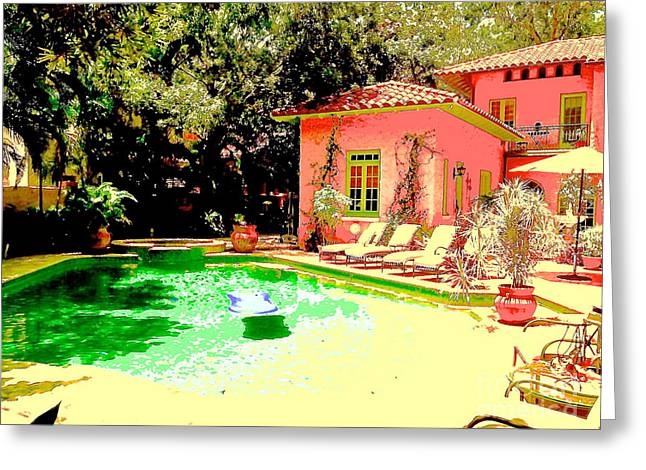 South Beach Framed Prints Greeting Cards - Pink house green pool Greeting Card by Diane Phelps