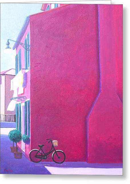 Naive Art Greeting Cards - Pink House in Burano Italy Greeting Card by Jan Matson