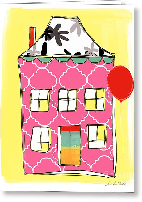 Kid Greeting Cards - Pink House Greeting Card by Linda Woods