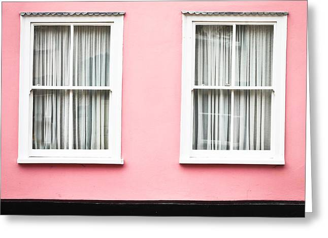 White Frame House Greeting Cards - Pink House Greeting Card by Tom Gowanlock