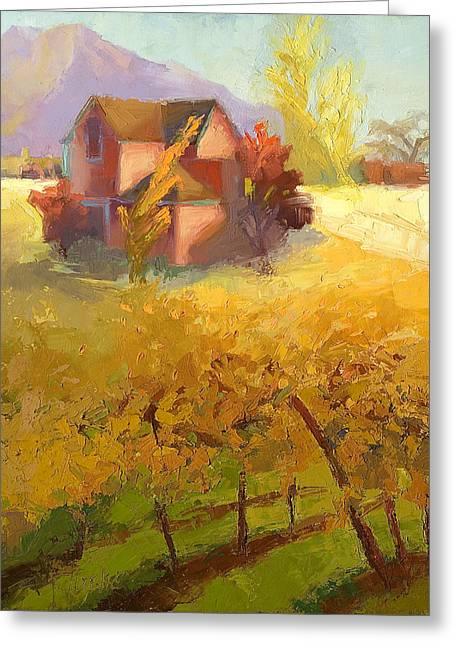 Pink House Yellow Field Greeting Card by Cathy Locke