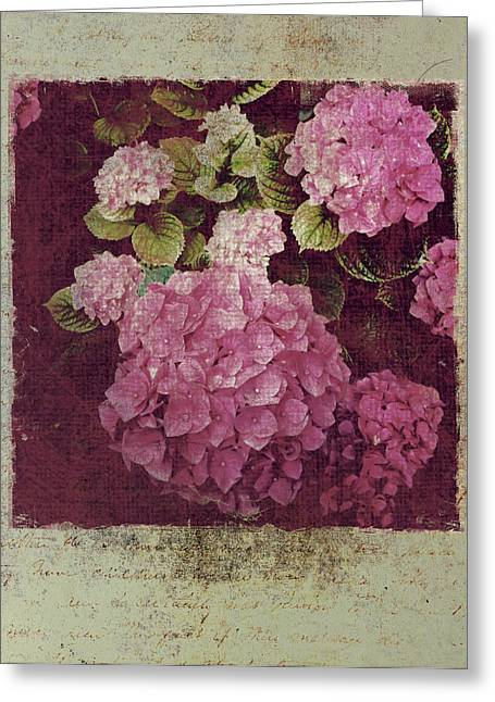 Texting Greeting Cards - Pink Hydrangea Letter Greeting Card by Greg Dyro