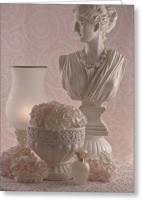 Powder Greeting Cards - Pink Hydrangeas Still Life  Greeting Card by Sandra Foster