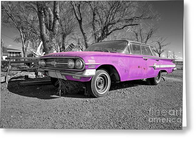 Unrestored Greeting Cards - Pink Impala Greeting Card by Rob Hawkins