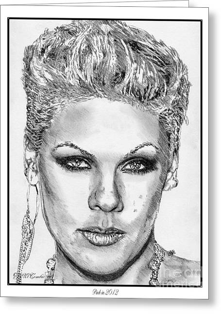 Fame Drawings Greeting Cards - Pink in 2012 Greeting Card by J McCombie