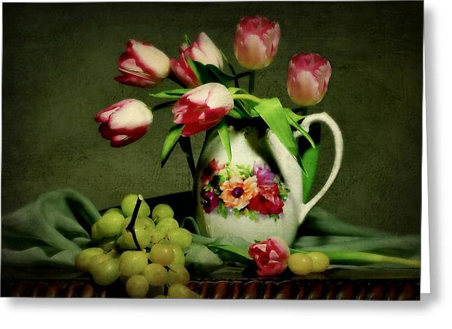 Fruit And Flowers Greeting Cards - Pink in a Pitcher Greeting Card by Diana Angstadt