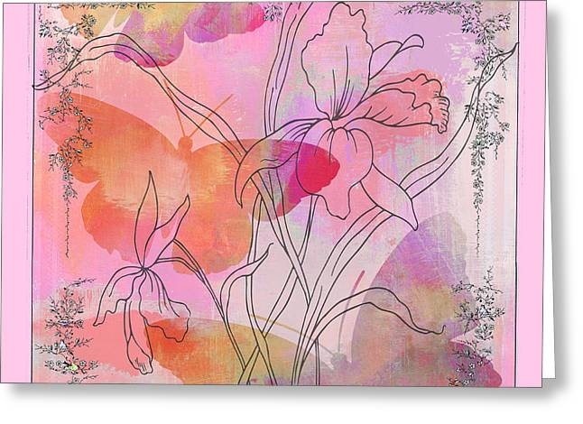 Textile Collage Greeting Cards - Pink Iris Butterflies Floral Watercolor Art Print Greeting Card by ArtyZen Studios - ArtyZen Home