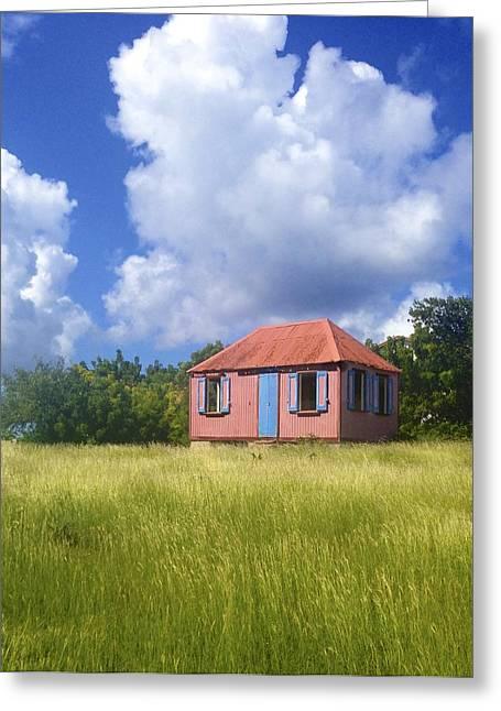 Jennifer Lamanca Kaufman Greeting Cards - Pink Island House Greeting Card by Jennifer Lamanca Kaufman