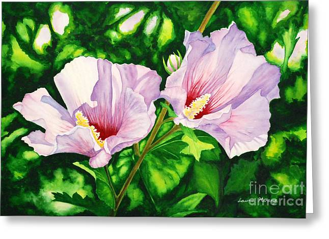 Althea Paintings Greeting Cards - Pink Ladies Greeting Card by Laura Hwang