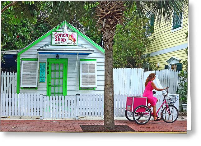 Sign In Florida Photographs Greeting Cards - Pink Lady and The Conch Shop  Greeting Card by Rebecca Korpita