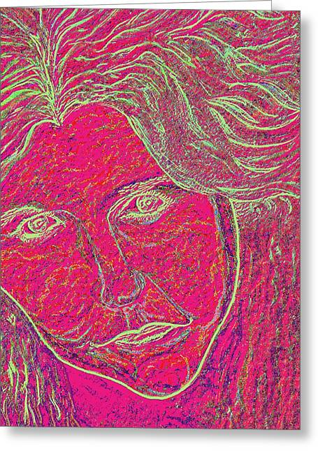 Pink Lady Greeting Card by Mark Moore