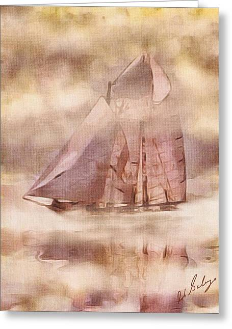 Schooner Mixed Media Greeting Cards - Pink Lady Sails Greeting Card by Robert Salazar