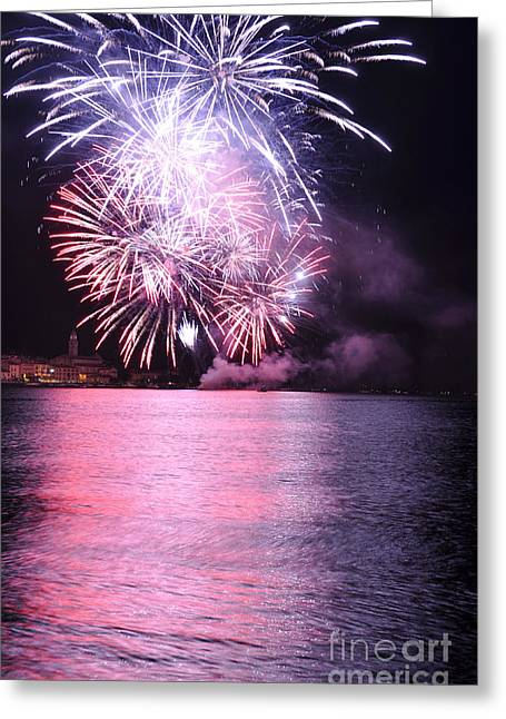 Pyrotechnics Greeting Cards - Pink lake Greeting Card by Simona Ghidini