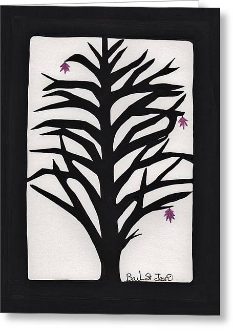 Lino Cut Drawings Greeting Cards - Pink Leaf Maple Greeting Card by Barbara St Jean