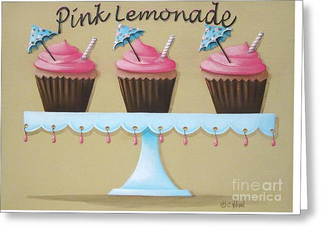 Catherine Greeting Cards - Pink Lemonade Cupcake Greeting Card by Catherine Holman