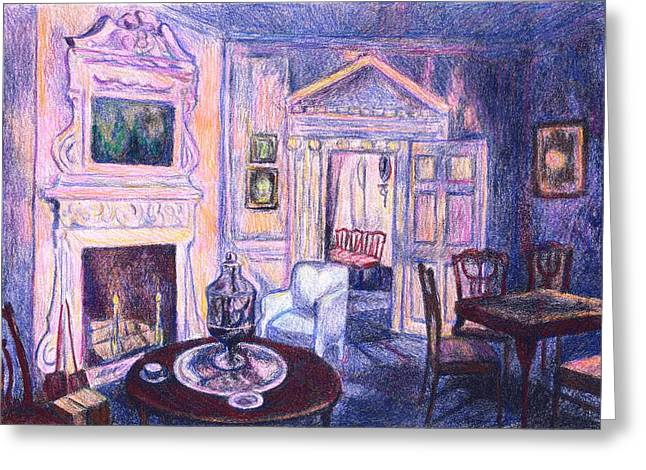 Table And Chairs Mixed Media Greeting Cards - Pink Light at Mount Vernon Greeting Card by Kendall Kessler