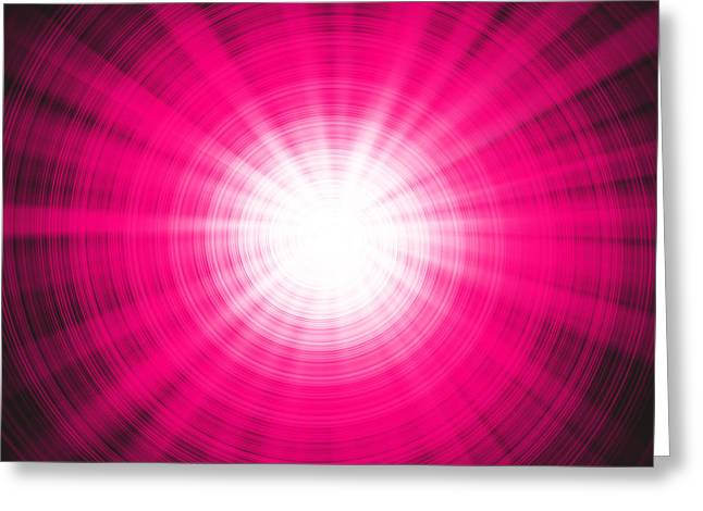 Swirls Of Energy Greeting Cards - Pink Light Beams Greeting Card by Peter Hermes Furian