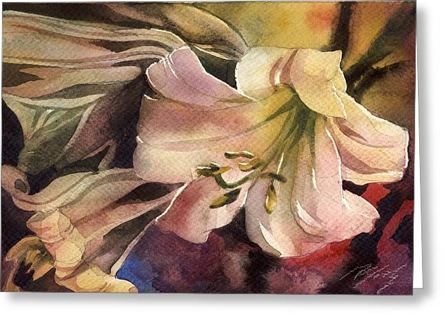 Pink Lilies Greeting Card by Alfred Ng