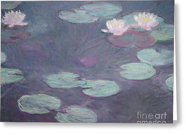 Unique Art Paintings Greeting Cards - Pink lilies Greeting Card by Claude Monet