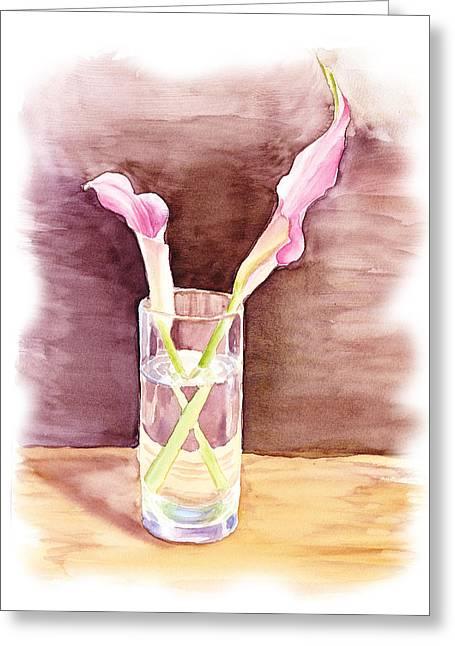 Pink Lilies Impressionistic Still Life  Greeting Card by Irina Sztukowski